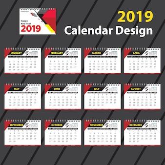 Grand modèle de calendrier 2019 design