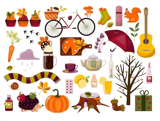 Grand modèle de cliparts de dessin animé de jeu d'automne de vecteur avec l'illustration de conception plate de feuilles d'automne
