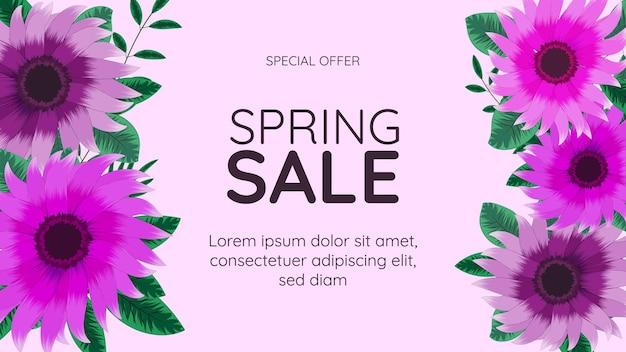 Grand modèle de fond de cadre floral de bannière de vente de printemps finale avec place pour votre texte pour le web