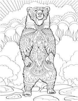 Grand ours debout sentant l'air avec des arbres forestiers arrière-plan dessin au trait incolore énorme grizzly