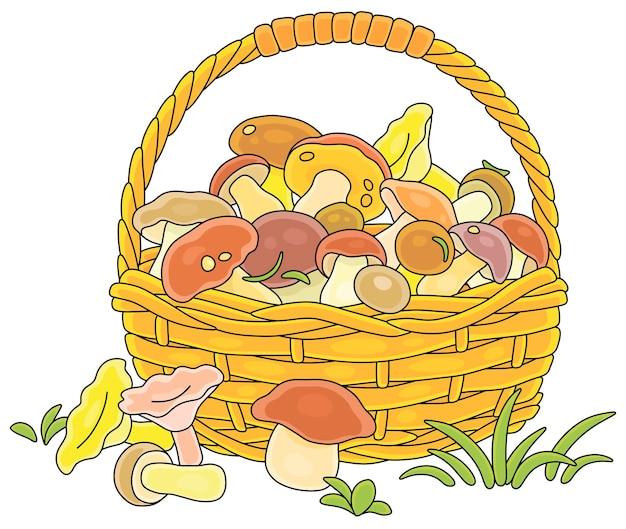 Grand panier en osier plein de dessin animé de champignons comestibles de forêt sauvage cueillis
