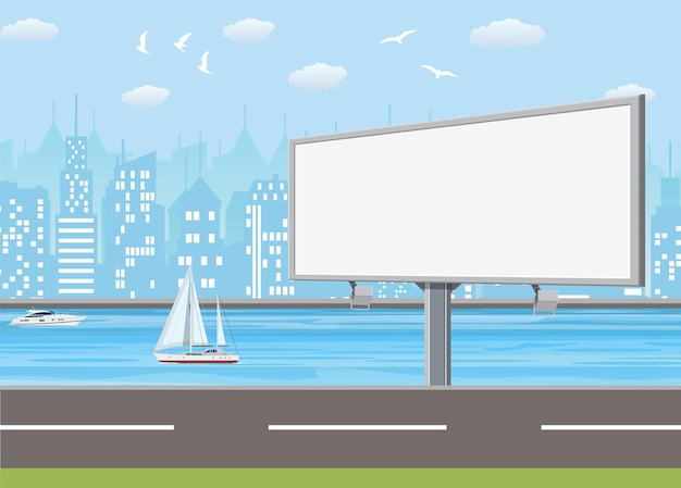 Grand panneau urbain vide ou panneau d'affichage avec lampe.