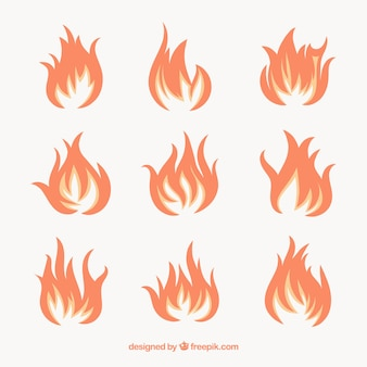 Grand paquet de flammes décoratives en design plat