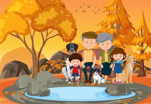 Grand-parent et enfants au parc