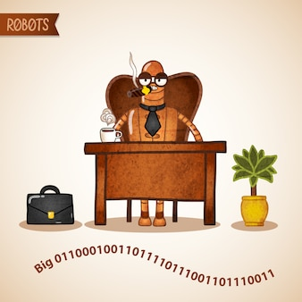 Grand patron avec café assis au bureau