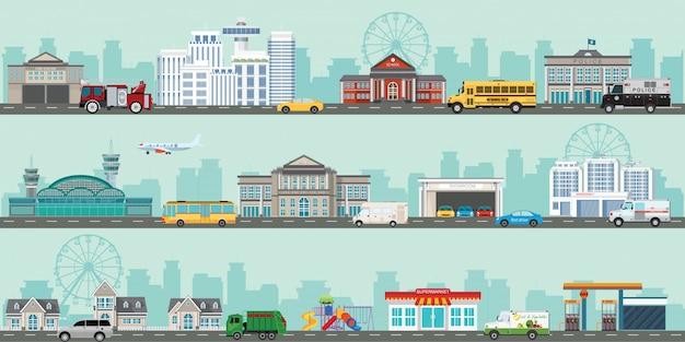 Grand paysage urbain avec divers grands bâtiments modernes et banlieue avec des maisons privées.