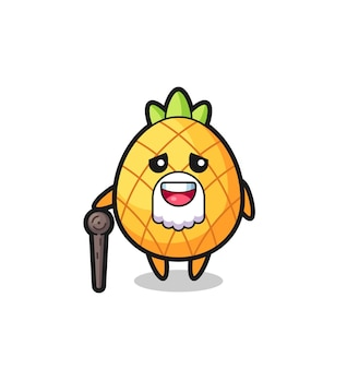 Grand-père ananas mignon tient un bâton, design de style mignon pour t-shirt, autocollant, élément de logo