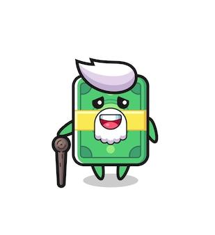 Le grand-père d'argent mignon tient un bâton, un design de style mignon pour un t-shirt, un autocollant, un élément de logo