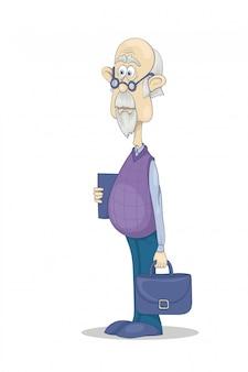 Grand-père drôle à lunettes avec une mallette et un livre
