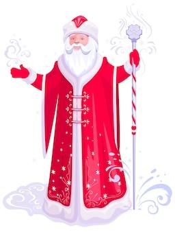 Le grand-père du père noël russe givre dans un portemanteau rouge avec une caricature du personnel de glace