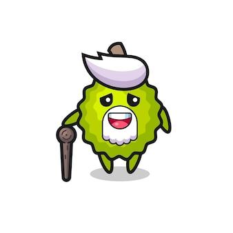 Le grand-père durian mignon tient un bâton, un design de style mignon pour un t-shirt, un autocollant, un élément de logo