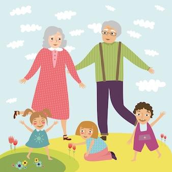 Grand-père et grand-mère avec enfants