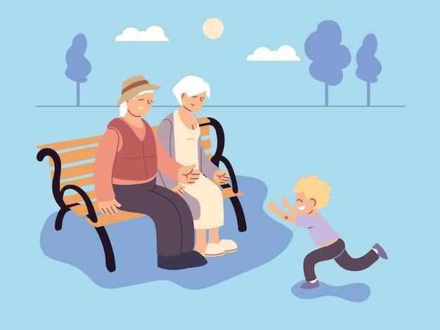 Grand-père et grand-mère avec petit-fils, bonne fête des grands-parents