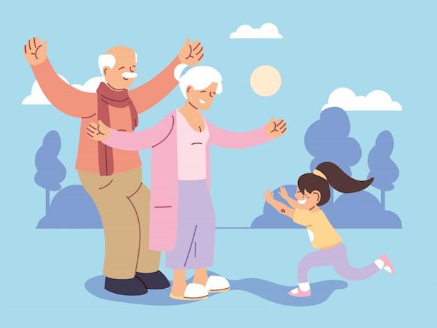 Grand-père et grand-mère avec petite-fille, bonne fête des grands-parents