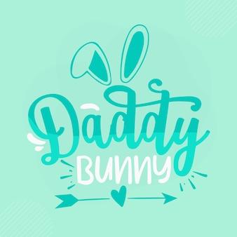 Grand-père lapin lettrage bunny premium vector design