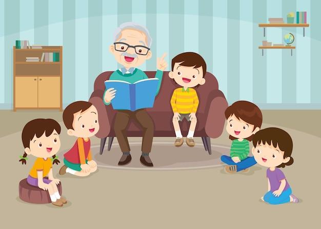Grand-père lisant des contes de fées à ses petits-enfants