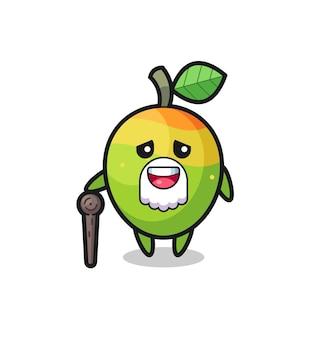 Le grand-père de mangue mignon tient un bâton, un design de style mignon pour un t-shirt, un autocollant, un élément de logo
