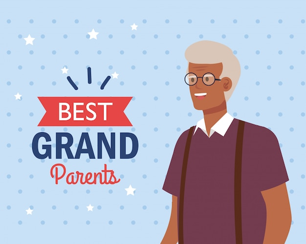 Grand-père sur la meilleure conception de vecteur de grands-parents
