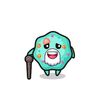 Le grand-père mignon d'amibe tient un bâton, un design de style mignon pour un t-shirt, un autocollant, un élément de logo