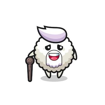 Le grand-père mignon de boule de riz tient un bâton, un design de style mignon pour un t-shirt, un autocollant, un élément de logo
