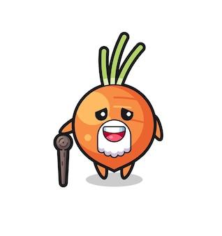 Le grand-père mignon de carotte tient un bâton, un design de style mignon pour un t-shirt, un autocollant, un élément de logo