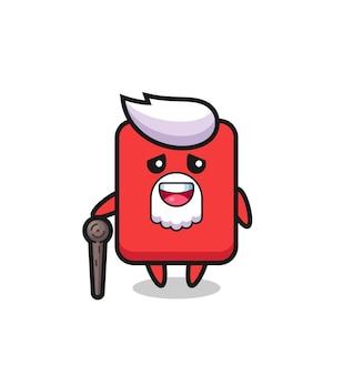 Grand-père mignon de carte rouge tient un bâton, conception mignonne de style pour le t-shirt, autocollant, élément de logo