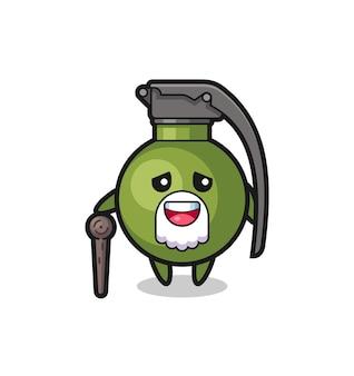 Le grand-père mignon de grenade tient un bâton, un design de style mignon pour un t-shirt, un autocollant, un élément de logo
