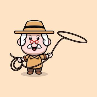 Grand-père mignon avec illustration de dessin animé lasso