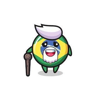 Le grand-père mignon d'insigne de drapeau du brésil tient un bâton, un design de style mignon pour un t-shirt, un autocollant, un élément de logo