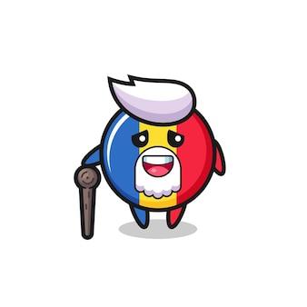 Le grand-père mignon d'insigne de drapeau de la roumanie tient un bâton, un design de style mignon pour un t-shirt, un autocollant, un élément de logo