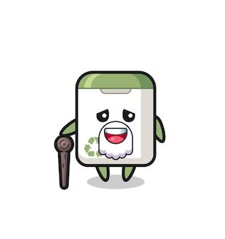 Le grand-père mignon de poubelle tient un bâton, un design de style mignon pour un t-shirt, un autocollant, un élément de logo