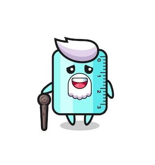 Le grand-père mignon de règle tient un bâton, un design de style mignon pour un t-shirt, un autocollant, un élément de logo
