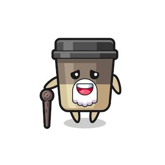 Le grand-père mignon de tasse de café tient un bâton, un design de style mignon pour un t-shirt, un autocollant, un élément de logo