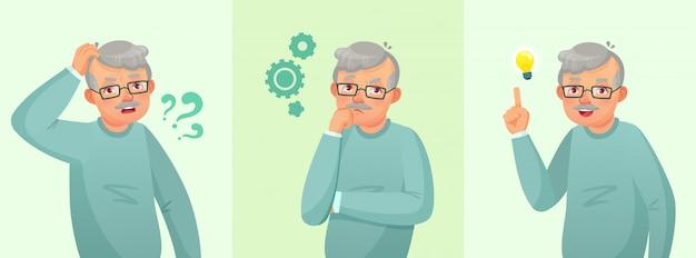 Grand-père pensant, un homme âgé a résolu la question, réfléchi senior masculin et confus concept de dessin animé de personnes âgées