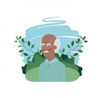 Grand-père avec personnage avatar du paysage