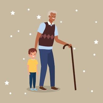 Grand-père avec personnage avatar petit-fils