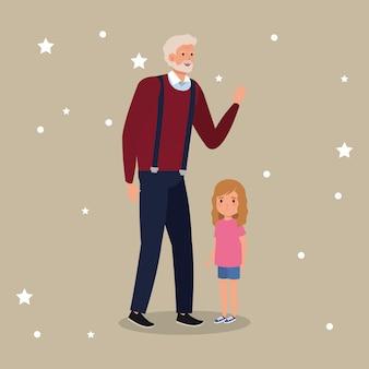 Grand-père avec le personnage d'avatar de petite-fille