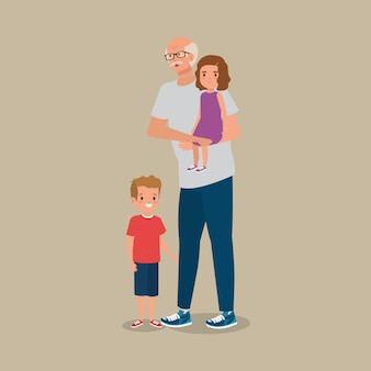Grand-père avec le personnage d'avatar de petits-enfants