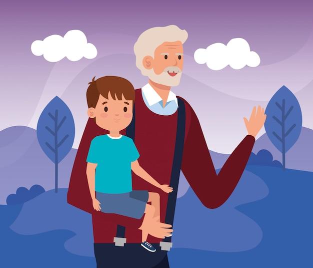 Grand-père avec petit-fils dans le paysage de la scène