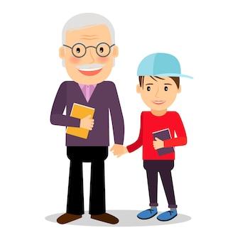 Grand-père et petit-fils lisant des livres