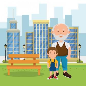 Grand-père avec petit-fils sur le parc