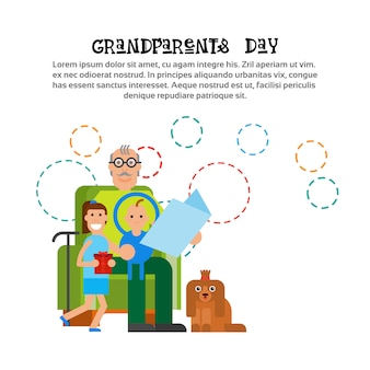 Grand-père reeding aux petits-enfants bonne bannière de carte de voeux pour la journée des grands-parents