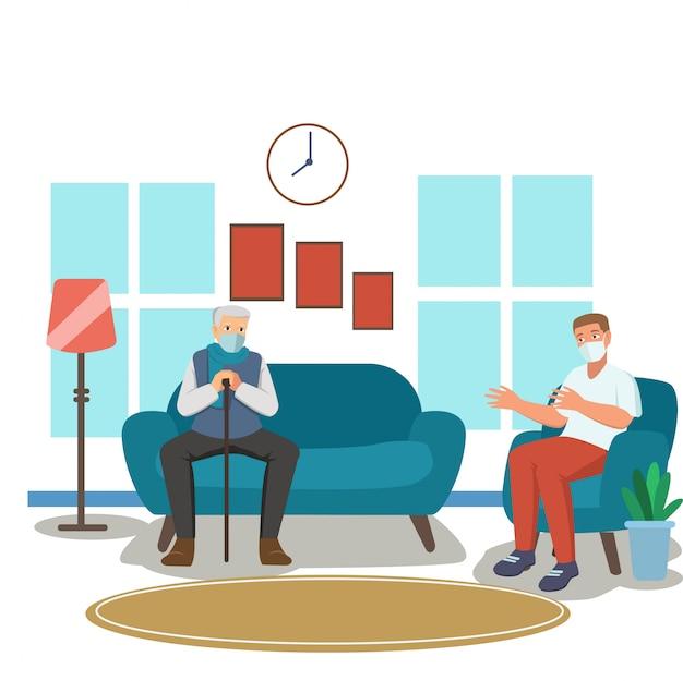 Grand-père et son ami gardent leurs distances tout en parlant dans le salon