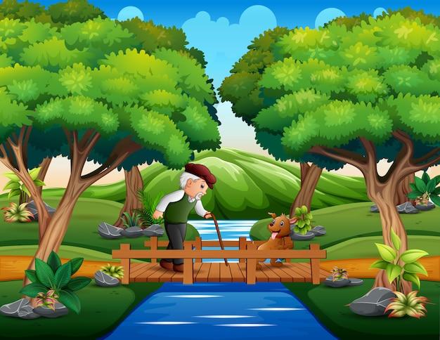 Grand-père avec son chien traversant un pont en bois