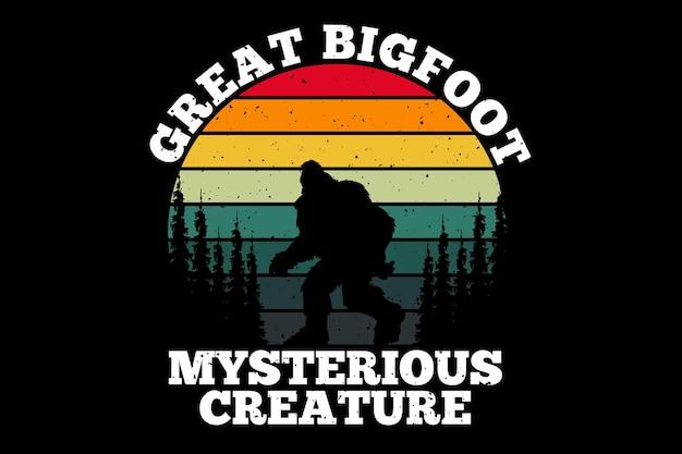 Grand pin de créature mystérieuse de style rétro de bigfoot