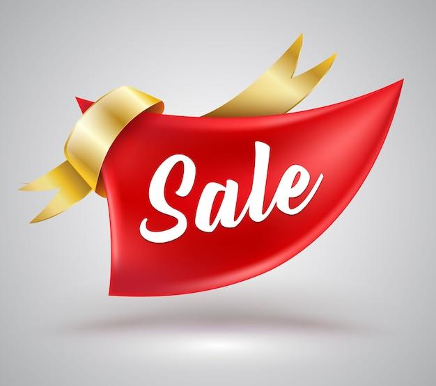 Grand ruban rouge à vendre bannière pour publicité promotionnelle.