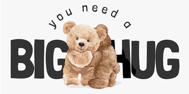 Grand slogan de câlin avec des poupées d'ours s'embrassant illustration vectorielle