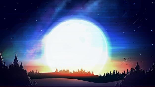Grand soleil sur ciel étoilé bleu, météores et forêt de pins à l'horizon.
