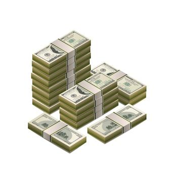 Grand tas de billets de cent dollars américains, coupure détaillée en vue isométrique sur blanc