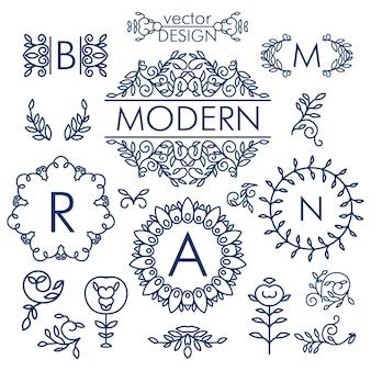Grand vecteur ensemble d'éléments de design floral ligne pour logos